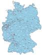 Deutschland mit Ortsnetz und Postleitzahlen