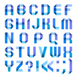 Spectral letters folded of paper ribbon-blue