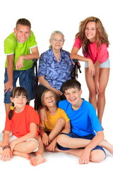 Grandmother and  grandchildren