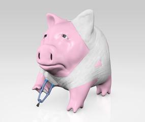 piggy bank bandaged