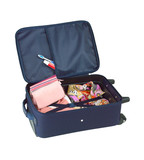 An opened suitcase packed with colorful cloth and cosmetic bag