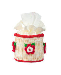 Rattan tissue paper box decorated by  knitted flowers