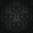 Luxury black floral damask wallpaper pattern