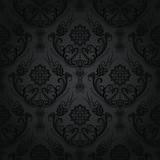 Luxury black floral damask wallpaper pattern