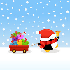 Penguin delivering Christmas Gifts