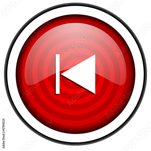 prev red glossy icon isolated on white background