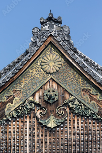 Decorative elements in Nijo-jo Castle in Kyoto. Japan.