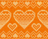 Valentines day orange knitted sweater vector seamless pattern