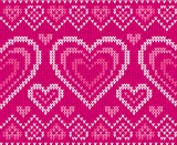 Valentines day glamour knitted sweater vector seamless pattern