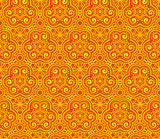 Orange abstract lacy curls seamless pattern
