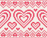 Valentines day white and red knitted vector seamless pattern