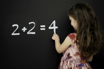 Smart young girl stood writing on a blackboard