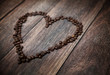 Picture presenting fragrant heart made of coffee beans