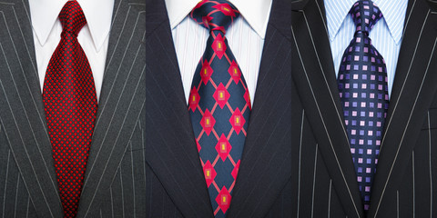 Pinstripe suits and ties