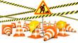 Road Reconstruction. Traffic cones. Road sign. 3d render