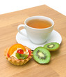 cake, kiwi fruit and a cup of tea