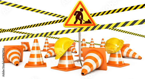 Road Reconstruction. Traffic cones. Road sign. 3d render