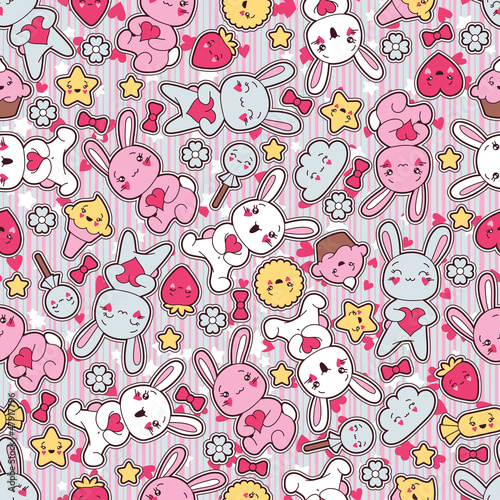 Sticker Seamless kawaii child pattern with cute doodles.