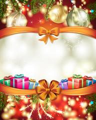 Christmas card with ball and gift
