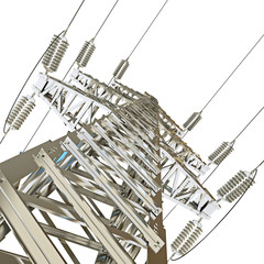 Power Transmission Line. 3d render