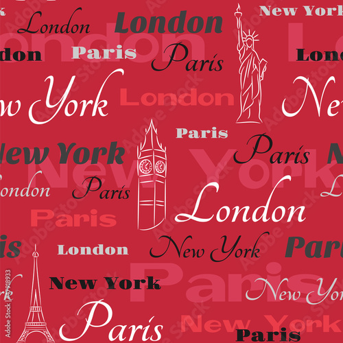 Red vector seamless pattern with cities - 47918933