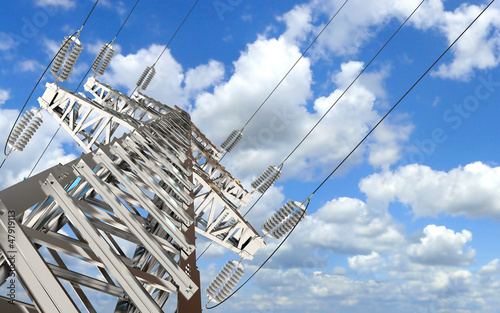 Power Transmission Line. High-voltage tower sky background