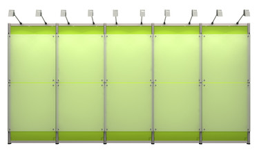 green wall made of exhibition system