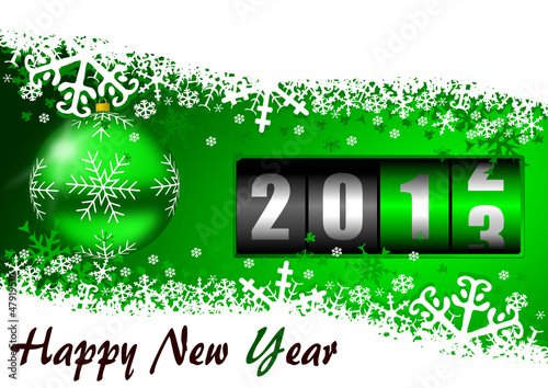 2013 new years illustration with christmas ball and counter