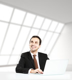 man in loft office