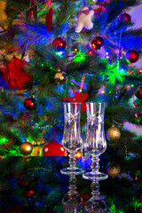 Flute Glass - christmas tree - New Year's toast