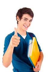 Young happy student showing thumbs up