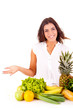 Happy young woman with fruits and vegetables