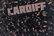 Luftansicht einer Stadt Cardiff in 3D mit Schriftzug