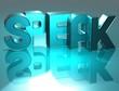 3D Word Speak on blue background