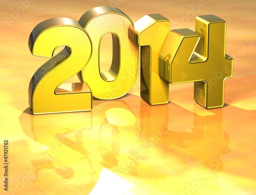 3D Year 2014 on gold background