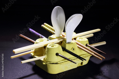 Chopsticks and Spoons on Egg Carton Holder