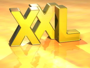 3D Word XXL on gold background