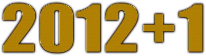 Número 2012+1con textura dorada y fondo blanco