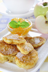 Apple fried in pancake batter
