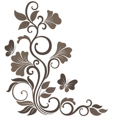 Floral vector illustration in sepia