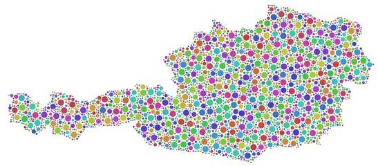 Harlequin map of Austria - Europe -