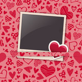 polaroid photo frame with heart