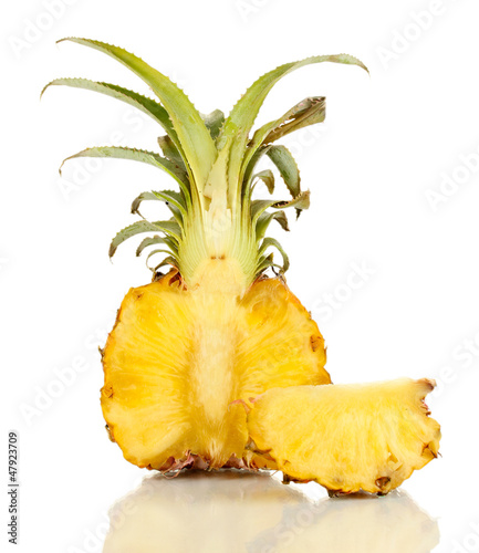 Sliced ripe pineapple isolated on white