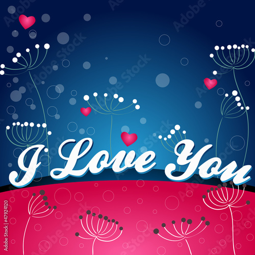 Valentines day vector greeting card with flowers