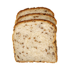 organic multigrain light rye bread on a white background