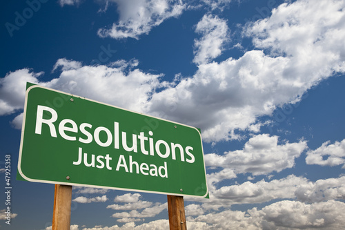 Resolutions Green Road Sign