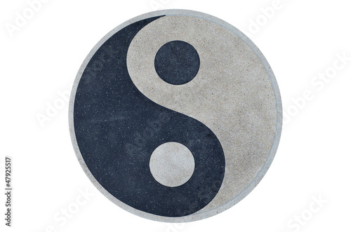 YinYang symbol made of gravel stones top view