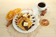 White bread toast with chocolate on wooden table