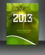 2013 new year celebration green colorful brochure wave card vect