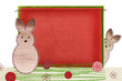 Easter bunny on textile background with space for your text